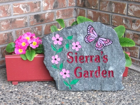 Sierra's garden stone the butterfly