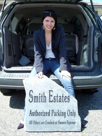 And engraved stone for parking at the Smith Estates
