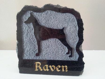 Polished black granite plaque in memory of Raven the Doberman pinscher