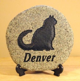 A memory stone for Denver the cat