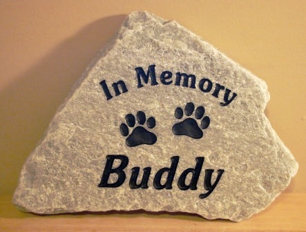2 paws on a memory stone for Buddy