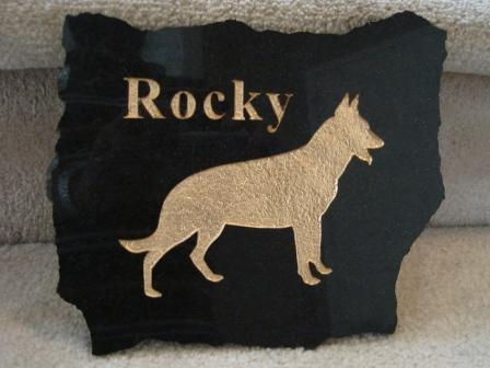 Polished granite plaque for Rocky the German Shepherd