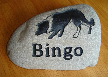 River rock for Bingo the border collie