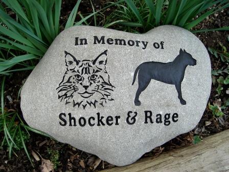 Engraved River rock for Shocker and Rage