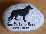 River rock Memory stone for Rex the German Shepherd