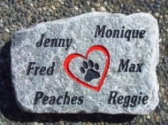 Pet memory stone remembering 6 pets