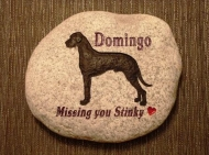 "The Great Dane ""Domingo""remembered on a River rock to go in the garden"