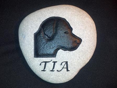 Tia engraved River rock