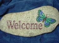 Engraved welcome River rock with the butterfly
