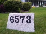 Large granite address sign