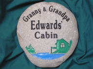 And engraved stone for the cabin