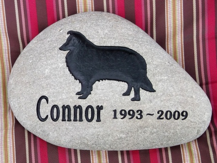 Connor the collie, engraved on a River rock