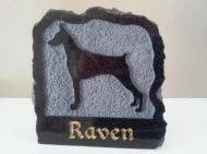 Polished black granite plaque in memory of Raven the Doberman pinscher