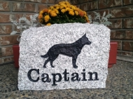 Large granite marker for Captain, the German Shepherd from Vancouver