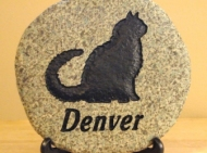 A memory stone for Denver the cat