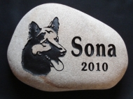 "A picture of a German Shepherd helps remember ""Sona"""