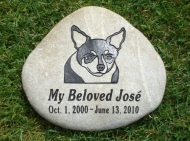 Engraved River rock for José