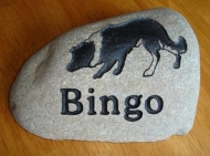 River rock for Bingo the border collie