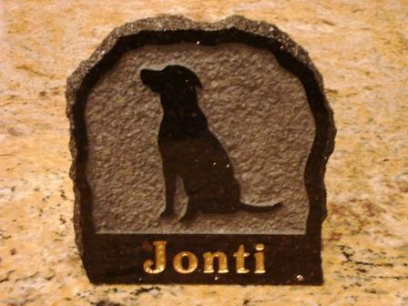 Granite plaque for Jonti the dog