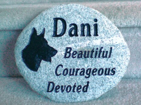 Engraved River rock for Dani the German Shepherd