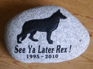 River rock Memory stone for Rex the German Shepherd