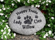 3 pets remembered on a pet memory stone