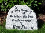 Stone tribute to the Whistler sled dogs
