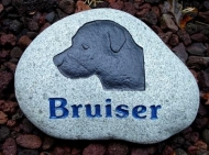 The dog Bruno remembered on a garden stone