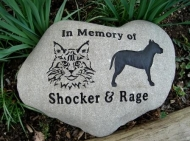 Engraved River rock for Shocker and Rage